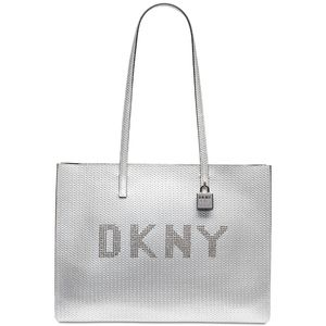DKNY Metallic Leather Commuter Logo Large Tote